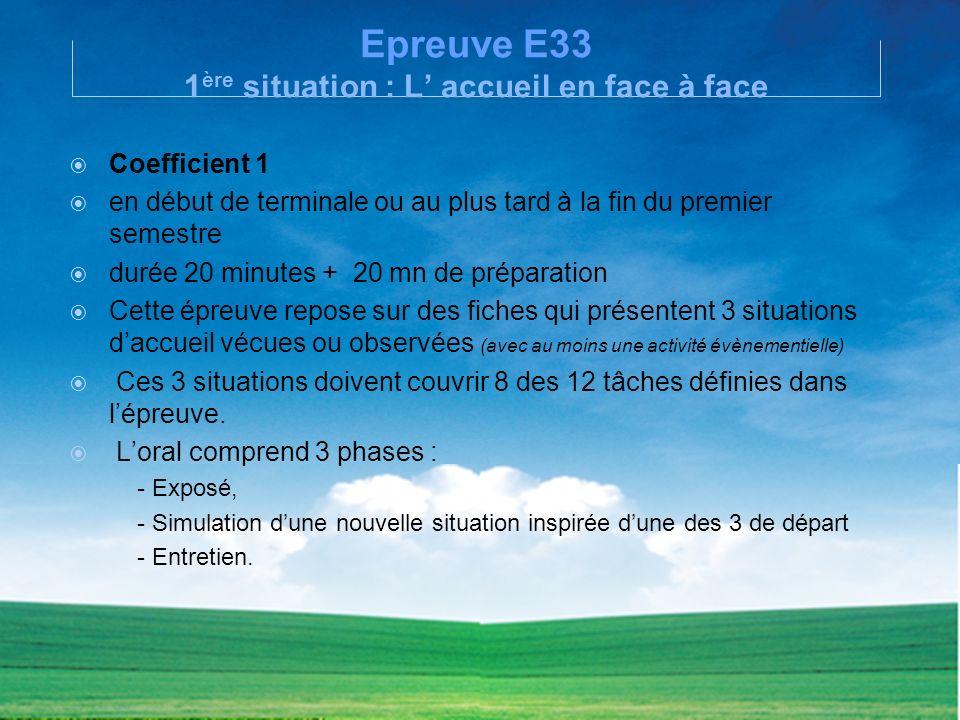 Epreuve E33 1 ère situation : L accueil en face à face Coefficient 1 en début de terminale ou au plus tard à la fin du premier semestre durée 20 minut