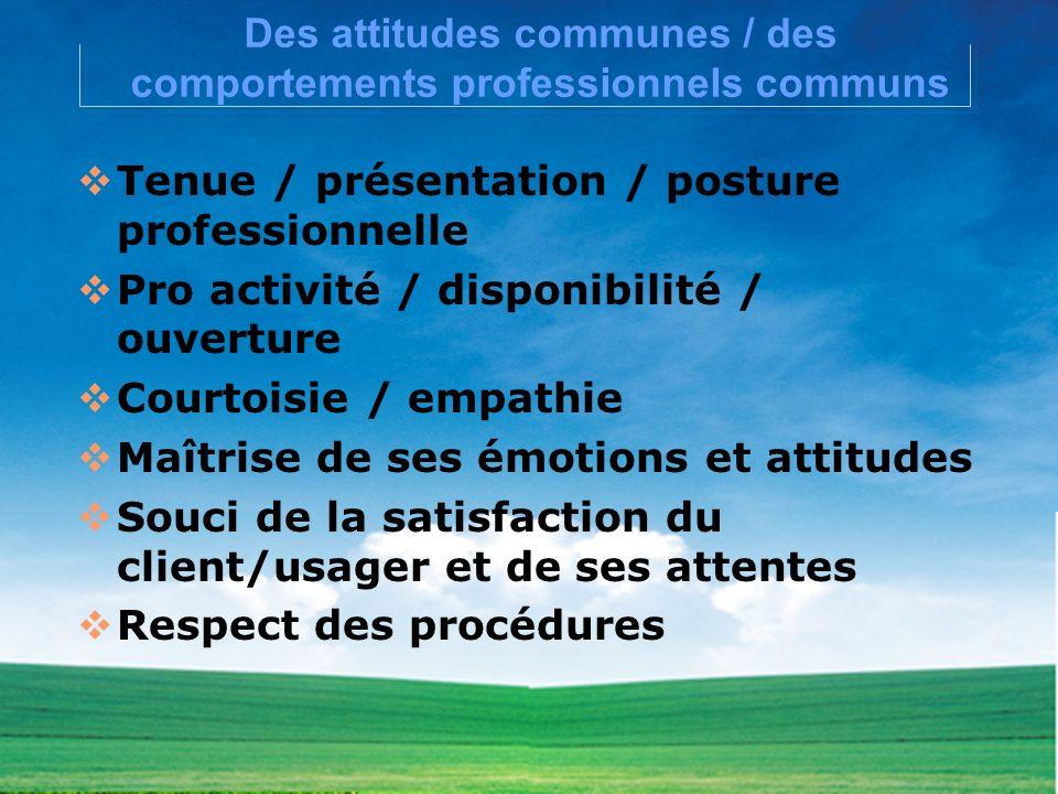 Des attitudes communes / des comportements professionnels communs Tenue / présentation / posture professionnelle Pro activité / disponibilité / ouvert