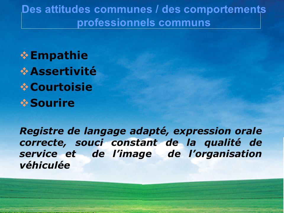 Des attitudes communes / des comportements professionnels communs Empathie Assertivité Courtoisie Sourire Registre de langage adapté, expression orale