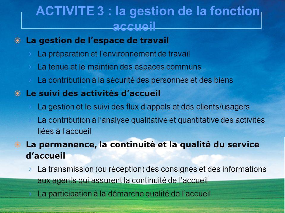 ACTIVITE 3 : la gestion de la fonction accueil La gestion de lespace de travail La préparation et lenvironnement de travail La tenue et le maintien de
