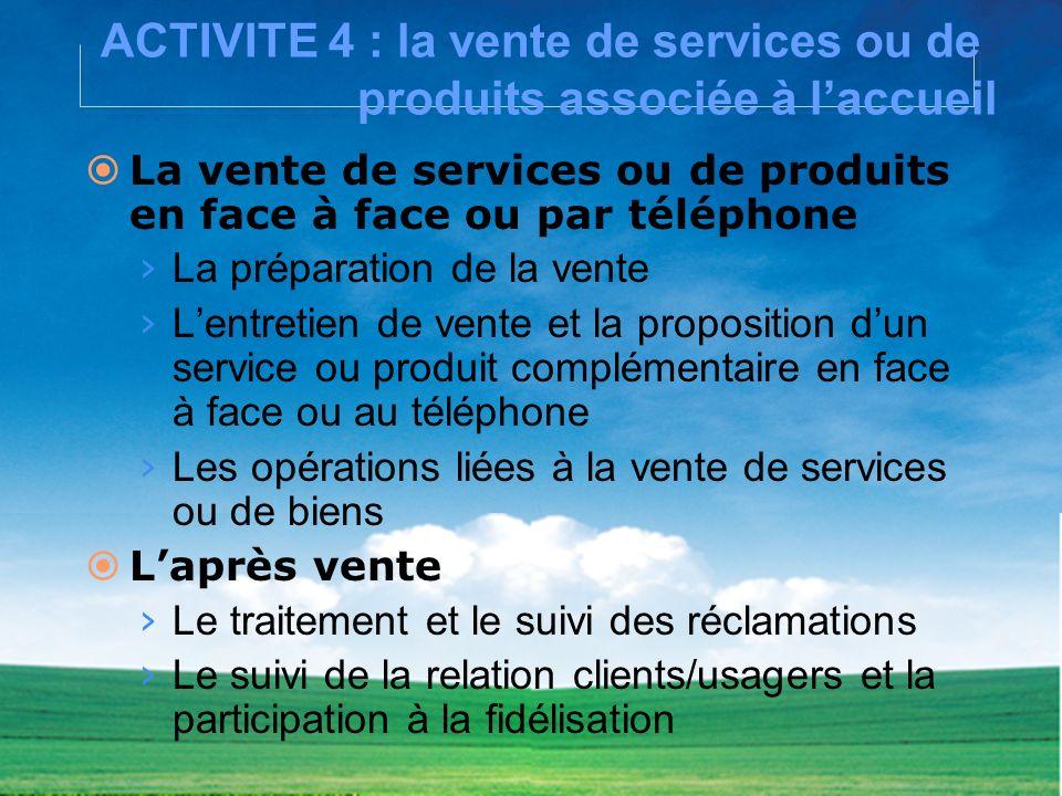 ACTIVITE 4 : la vente de services ou de produits associée à laccueil La vente de services ou de produits en face à face ou par téléphone La préparatio