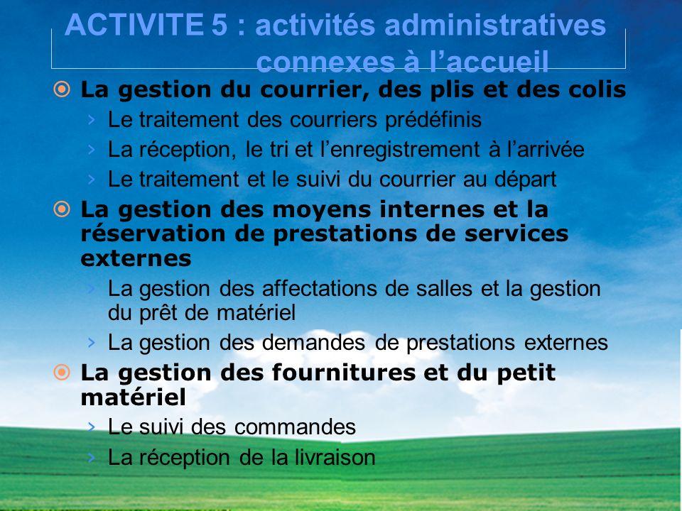 ACTIVITE 5 : activités administratives connexes à laccueil La gestion du courrier, des plis et des colis Le traitement des courriers prédéfinis La réc