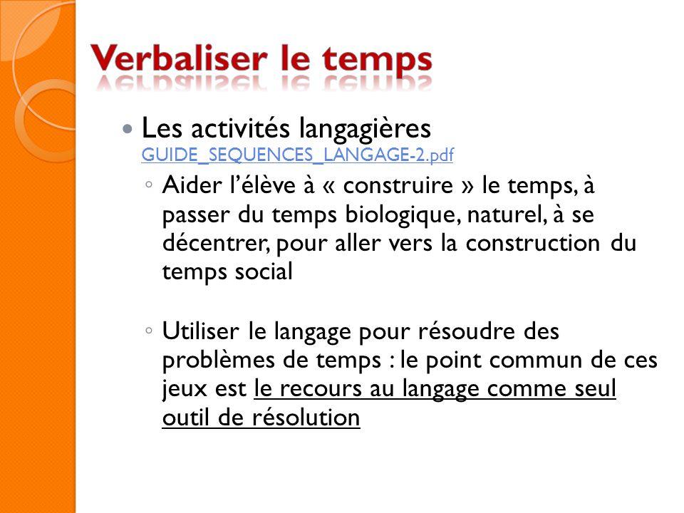 Les activités langagières GUIDE_SEQUENCES_LANGAGE-2.pdf GUIDE_SEQUENCES_LANGAGE-2.pdf Aider lélève à « construire » le temps, à passer du temps biolog