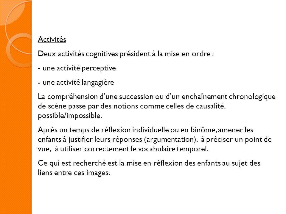 Activités Deux activités cognitives président à la mise en ordre : - une activité perceptive - une activité langagière La compréhension dune successio