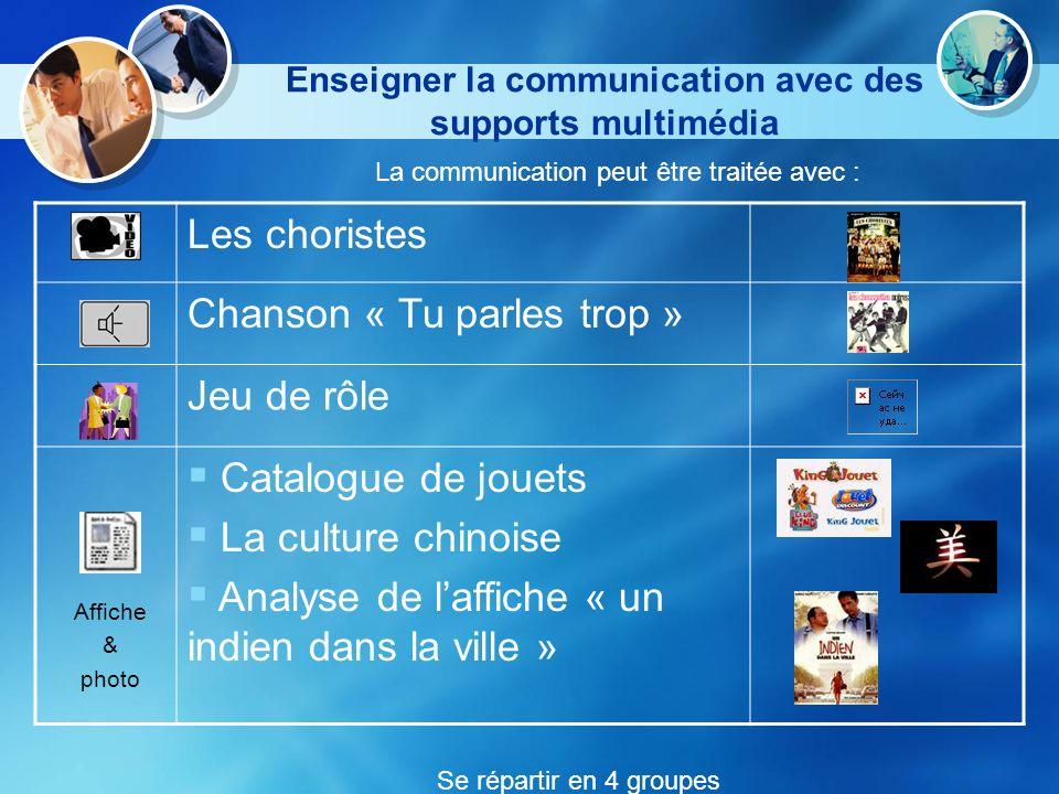 Enseigner la communication avec des supports multimédia La communication peut être traitée avec : Les choristes Chanson « Tu parles trop » Jeu de rôle