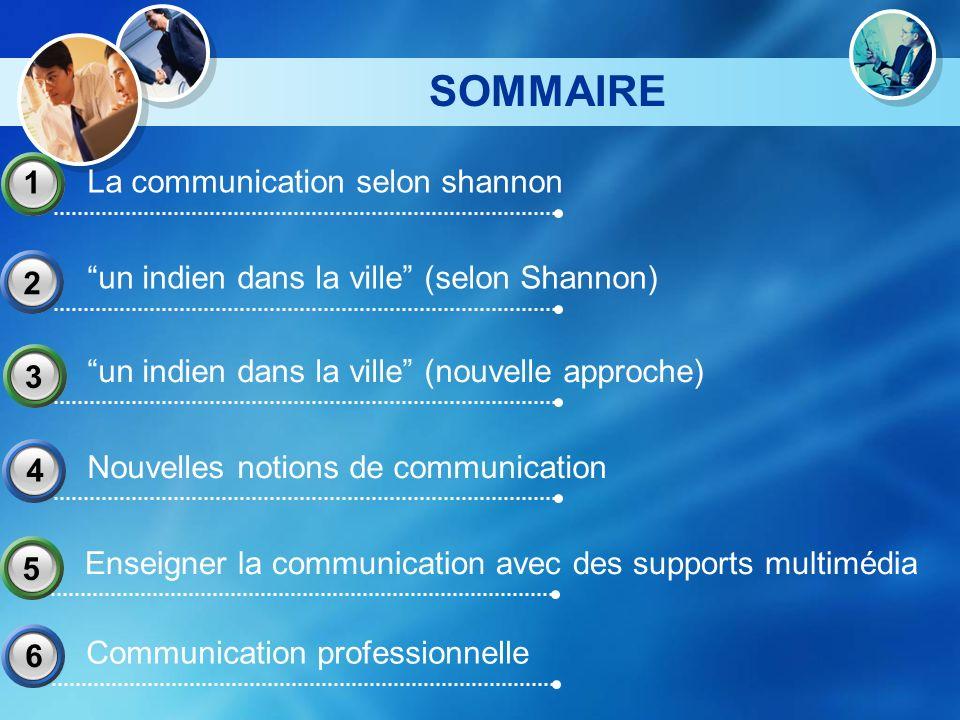 SOMMAIRE La communication selon shannon 1 un indien dans la ville (selon Shannon) 2 Nouvelles notions de communication 4 un indien dans la ville (nouv