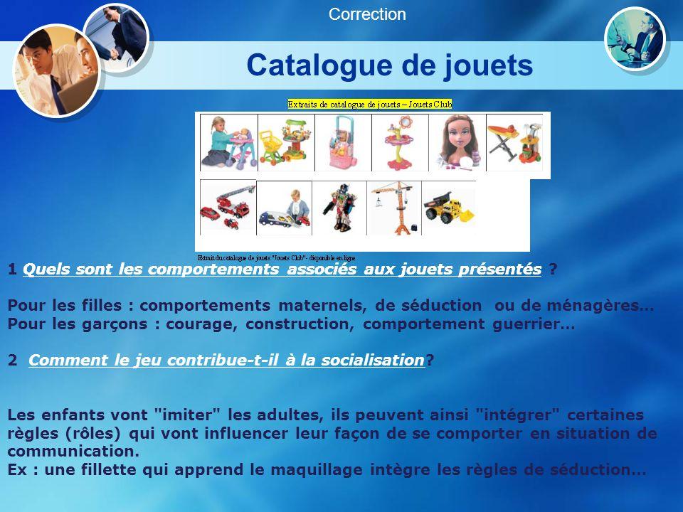 Catalogue de jouets Correction 1 Quels sont les comportements associés aux jouets présentés ? 2 Comment le jeu contribue-t-il à la socialisation? 1 Qu