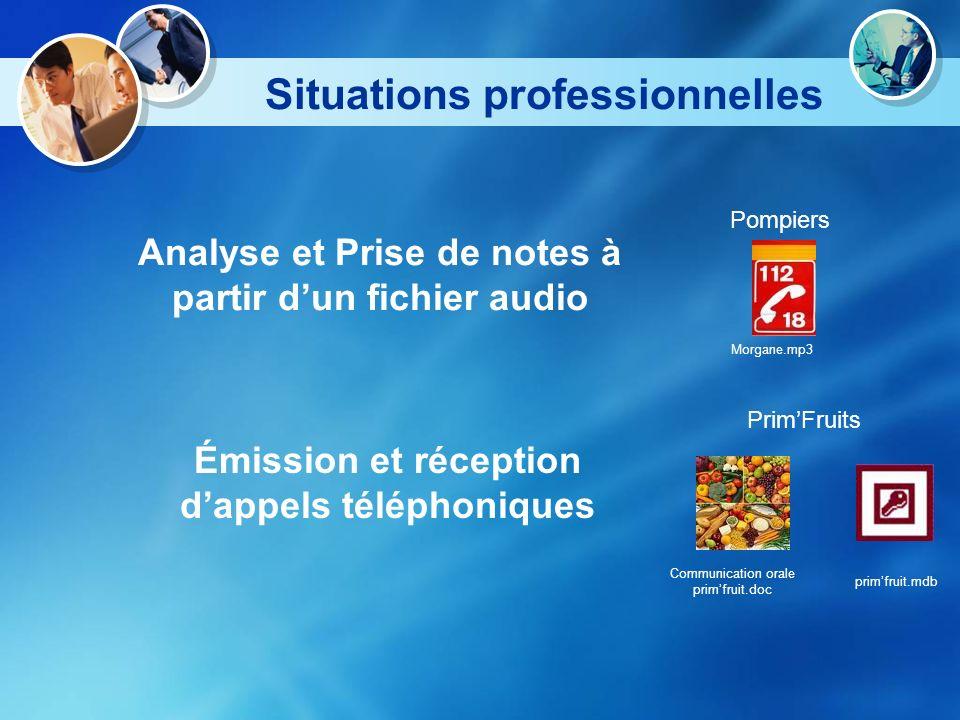 Situations professionnelles Analyse et Prise de notes à partir dun fichier audio Pompiers Émission et réception dappels téléphoniques PrimFruits Morga