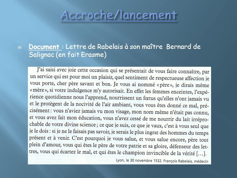 Document : Lettre de Rabelais à son maître Bernard de Salignac (en fait Erasme)