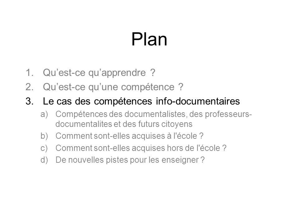 Définition Les compétences info-documentaires mettraient en œuvre –Des connaissances dans le domaine de contenu –Des compétences techniques (ex.