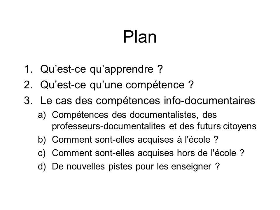 Plan 1.Quest-ce quapprendre .2.Quest-ce quune compétence .