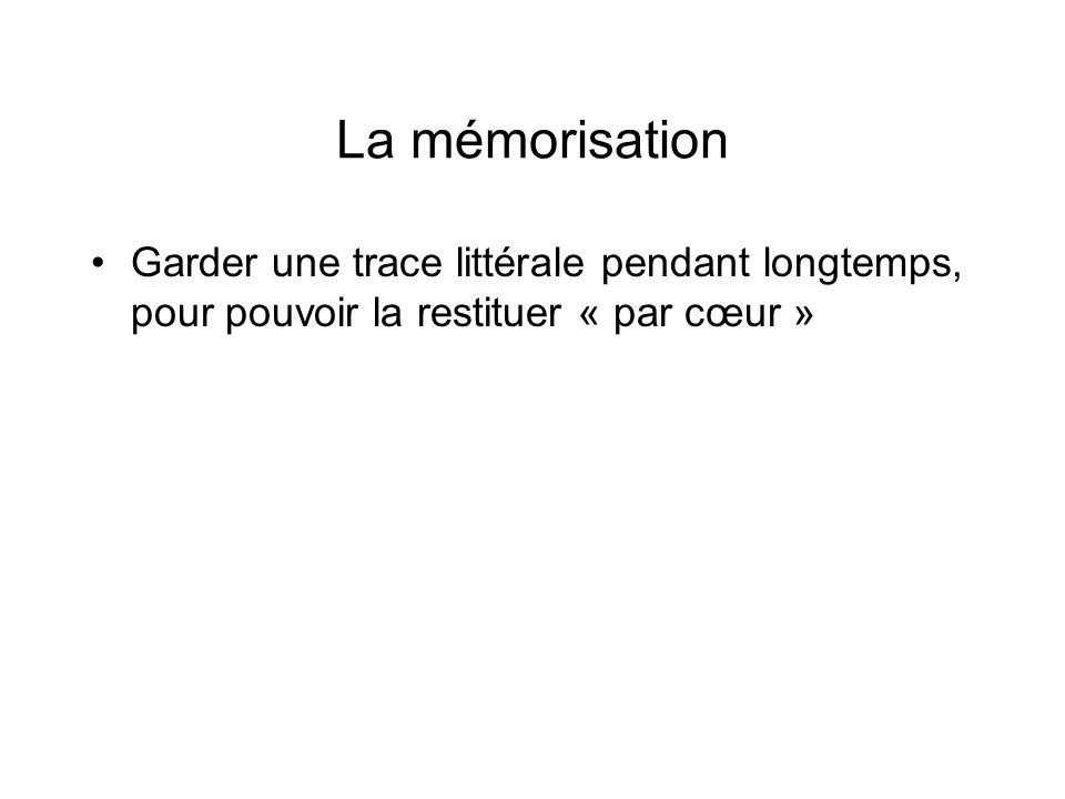 La mémorisation Garder une trace littérale pendant longtemps, pour pouvoir la restituer « par cœur »