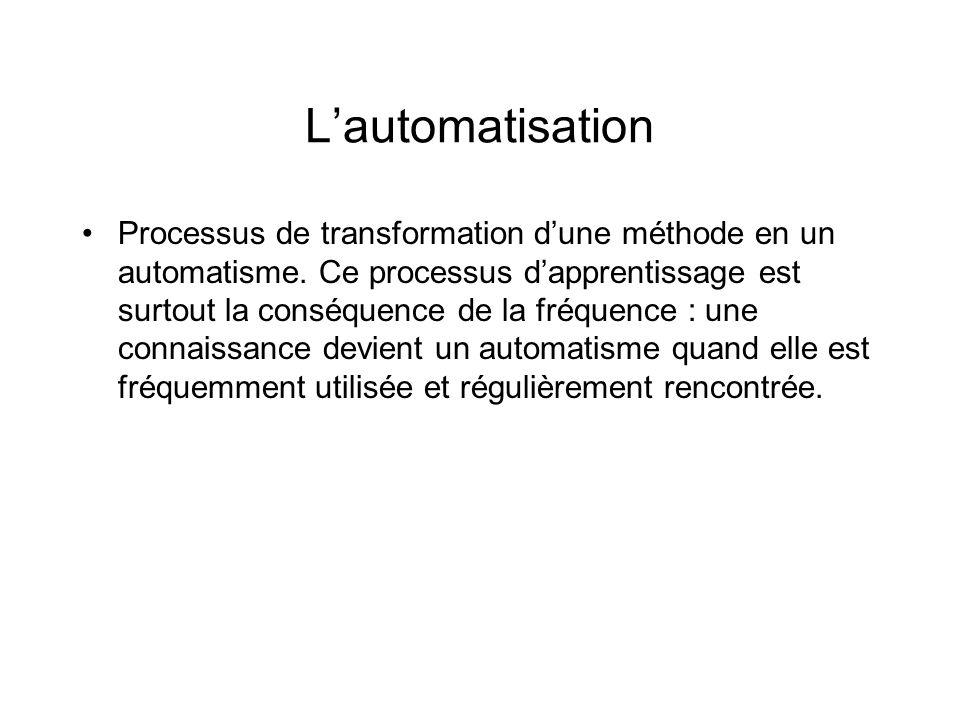 Lautomatisation Processus de transformation dune méthode en un automatisme. Ce processus dapprentissage est surtout la conséquence de la fréquence : u