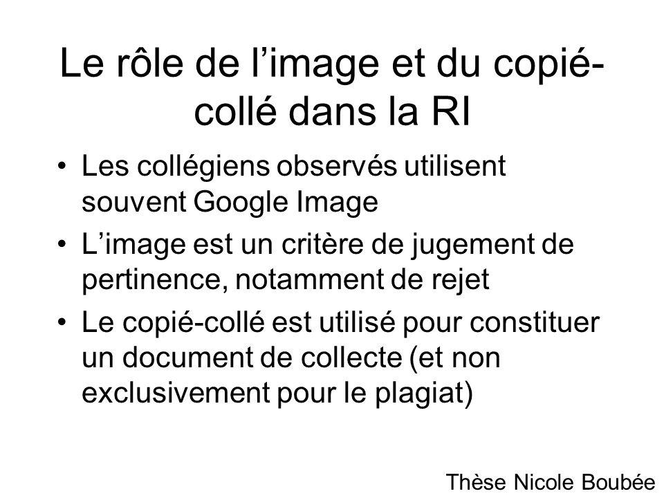 Le rôle de limage et du copié- collé dans la RI Les collégiens observés utilisent souvent Google Image Limage est un critère de jugement de pertinence