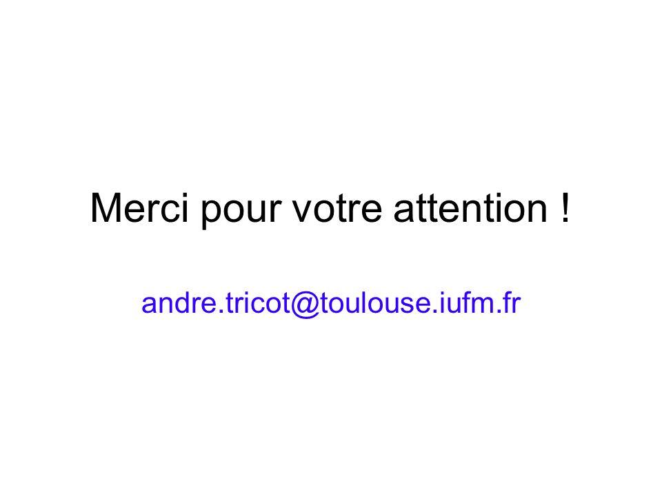 Merci pour votre attention ! andre.tricot@toulouse.iufm.fr