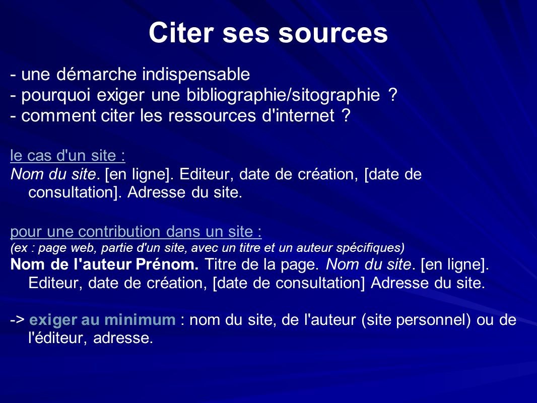 Citer ses sources - une démarche indispensable - pourquoi exiger une bibliographie/sitographie .