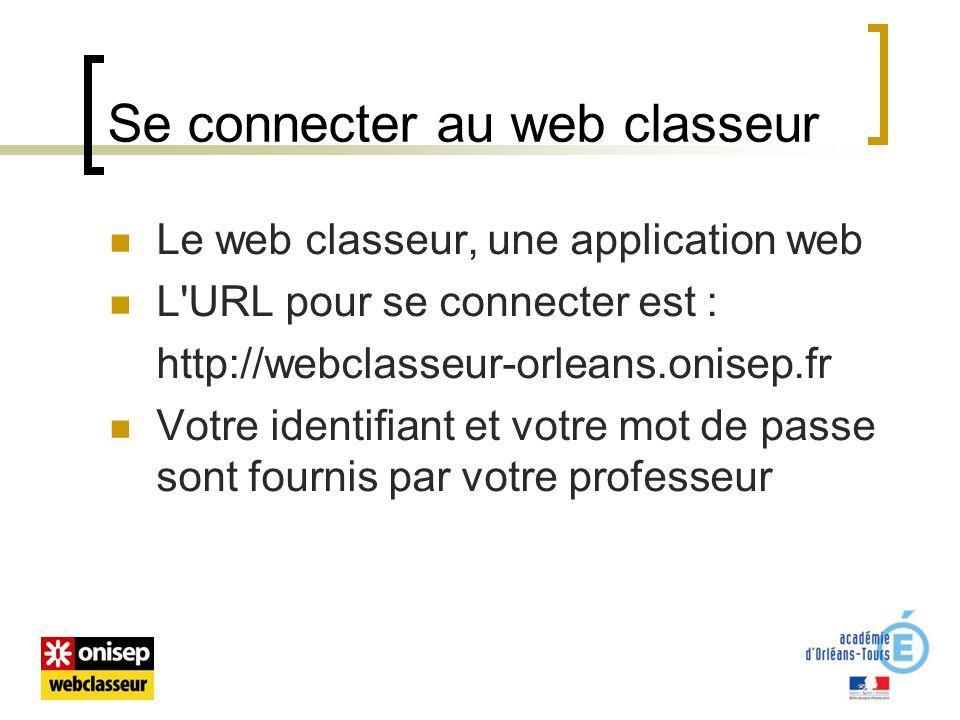 Se connecter au web classeur Le web classeur, une application web L URL pour se connecter est : http://webclasseur-orleans.onisep.fr Votre identifiant et votre mot de passe sont fournis par votre professeur