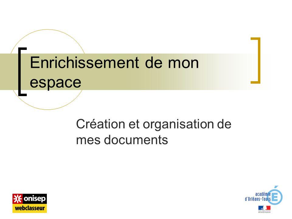 Enrichissement de mon espace Création et organisation de mes documents