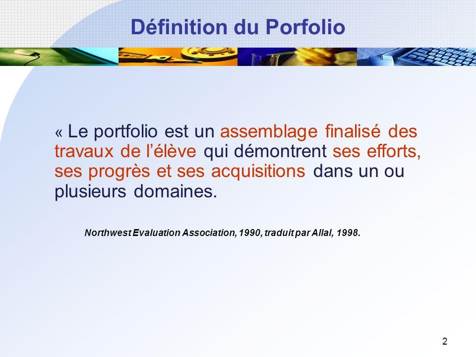 2 Définition du Porfolio « Le portfolio est un assemblage finalisé des travaux de lélève qui démontrent ses efforts, ses progrès et ses acquisitions dans un ou plusieurs domaines.