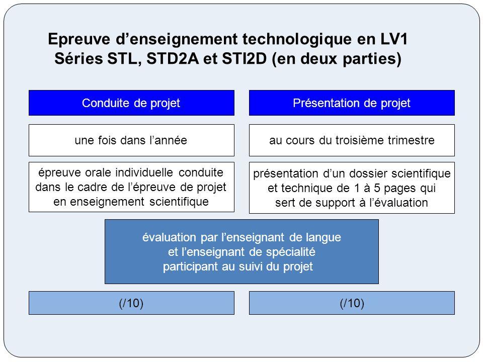 Epreuve denseignement technologique en LV1 Séries STL, STD2A et STI2D (en deux parties) une fois dans lannée épreuve orale individuelle conduite dans