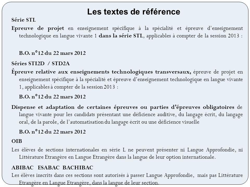 Série STL Epreuve de projet en enseignement spécifique à la spécialité et épreuve denseignement technologique en langue vivante 1 dans la série STL, a