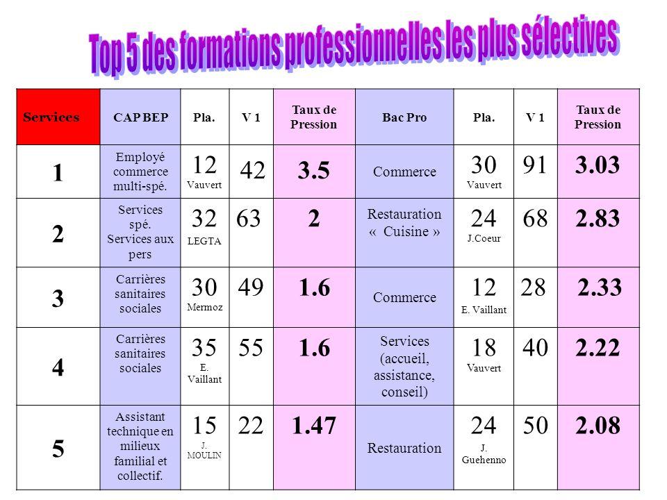 Services CAP BEPPla.V 1 Taux de Pression Bac ProPla.V 1 Taux de Pression 1 Employé commerce multi-spé.