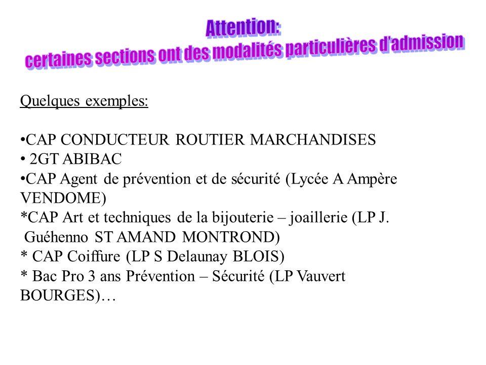 Quelques exemples: CAP CONDUCTEUR ROUTIER MARCHANDISES 2GT ABIBAC CAP Agent de prévention et de sécurité (Lycée A Ampère VENDOME) *CAP Art et techniques de la bijouterie – joaillerie (LP J.