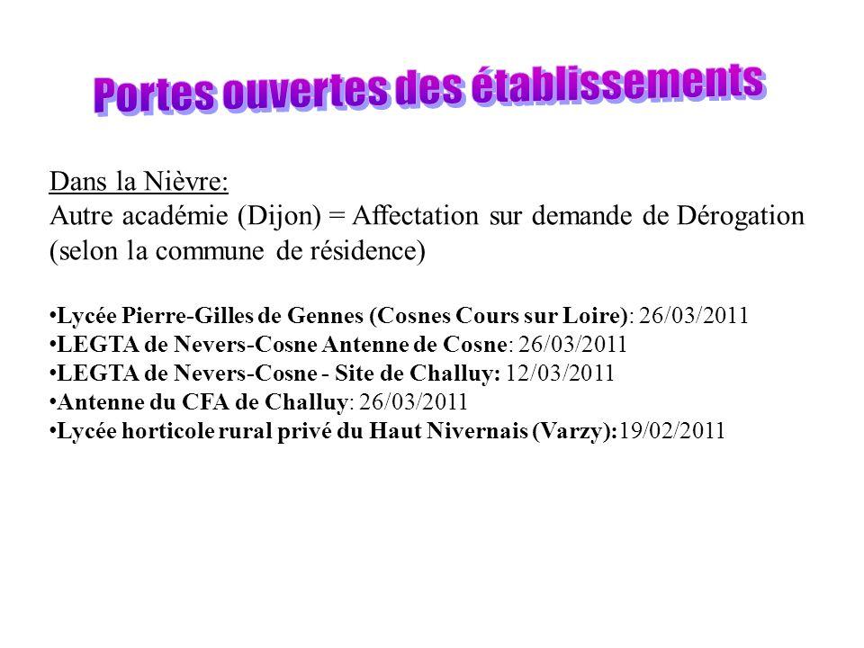 Dans la Nièvre: Autre académie (Dijon) = Affectation sur demande de Dérogation (selon la commune de résidence) Lycée Pierre-Gilles de Gennes (Cosnes Cours sur Loire): 26/03/2011 LEGTA de Nevers-Cosne Antenne de Cosne: 26/03/2011 LEGTA de Nevers-Cosne - Site de Challuy: 12/03/2011 Antenne du CFA de Challuy: 26/03/2011 Lycée horticole rural privé du Haut Nivernais (Varzy):19/02/2011