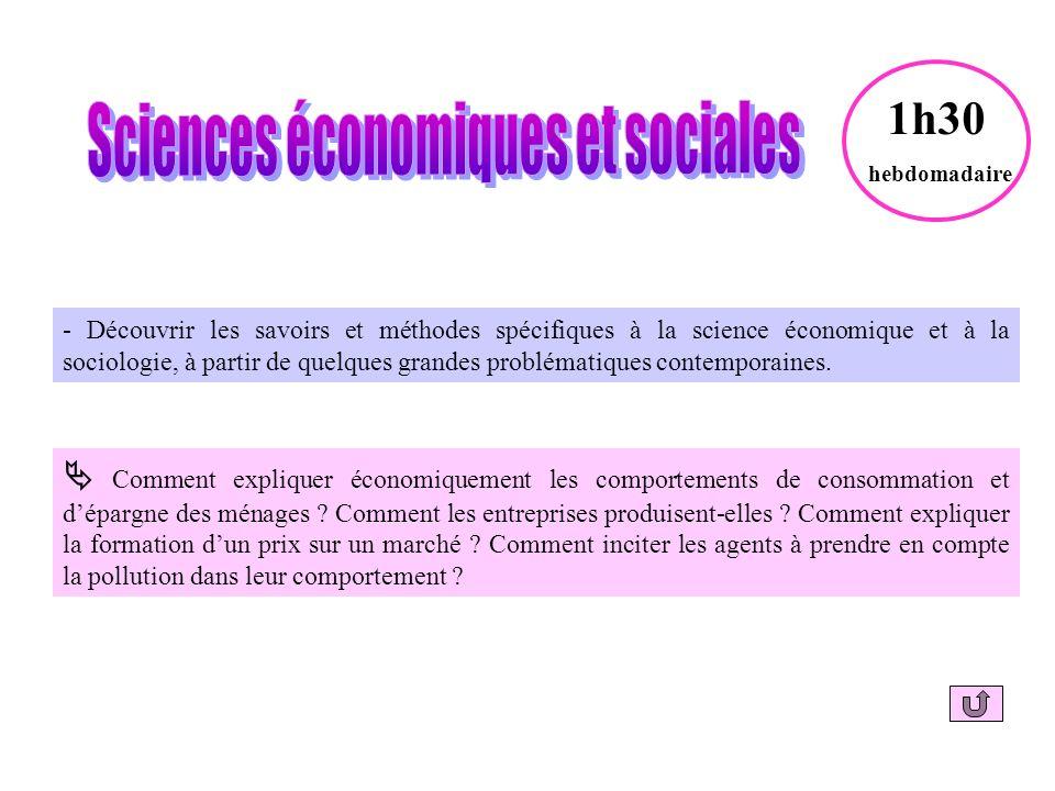 - Découvrir les savoirs et méthodes spécifiques à la science économique et à la sociologie, à partir de quelques grandes problématiques contemporaines.