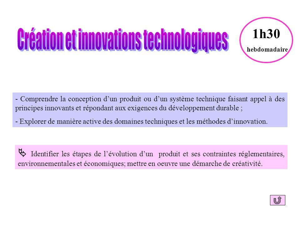 - Comprendre la conception dun produit ou dun système technique faisant appel à des principes innovants et répondant aux exigences du développement durable ; - Explorer de manière active des domaines techniques et les méthodes dinnovation.