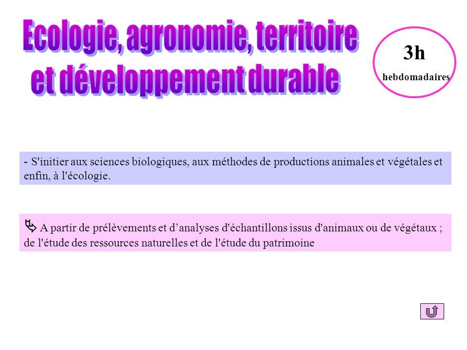 - S initier aux sciences biologiques, aux méthodes de productions animales et végétales et enfin, à l écologie.