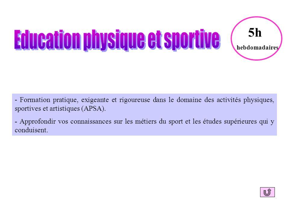 - Formation pratique, exigeante et rigoureuse dans le domaine des activités physiques, sportives et artistiques (APSA).