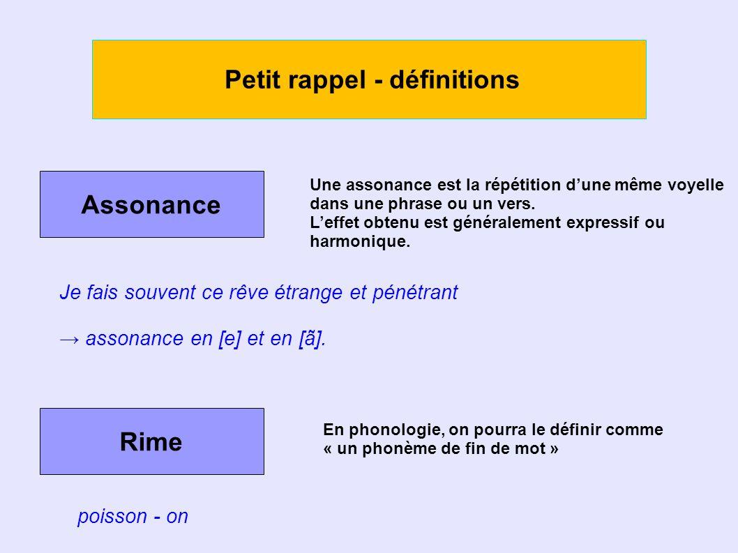 Petit rappel - définitions Assonance Une assonance est la répétition dune même voyelle dans une phrase ou un vers.
