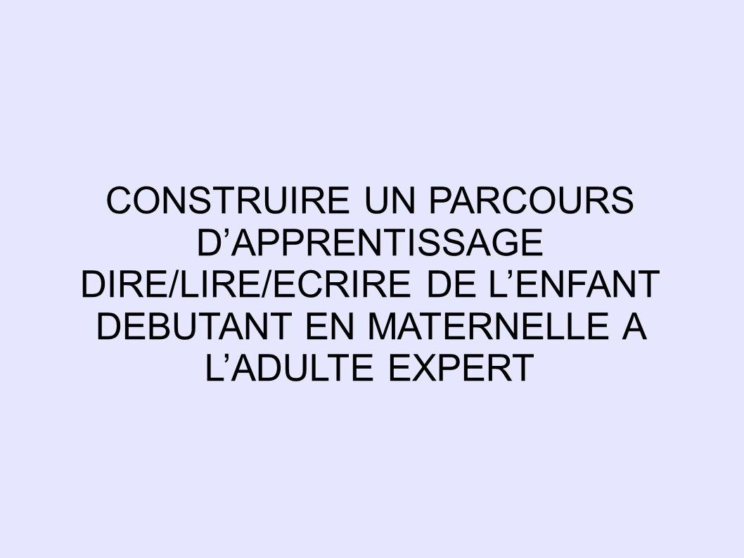 CONSTRUIRE UN PARCOURS DAPPRENTISSAGE DIRE/LIRE/ECRIRE DE LENFANT DEBUTANT EN MATERNELLE A LADULTE EXPERT