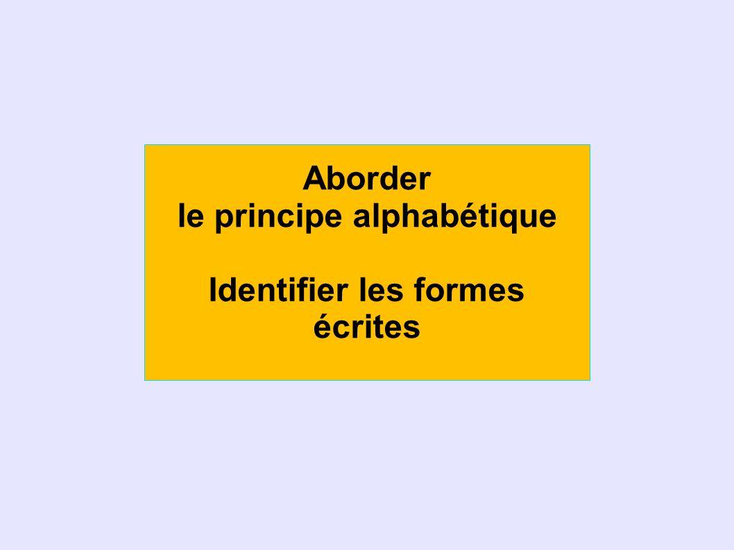 Aborder le principe alphabétique Identifier les formes écrites