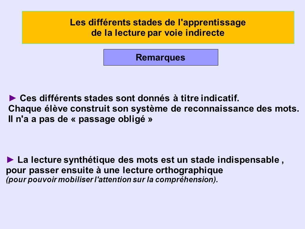 Les différents stades de l apprentissage de la lecture par voie indirecte Remarques Ces différents stades sont donnés à titre indicatif.