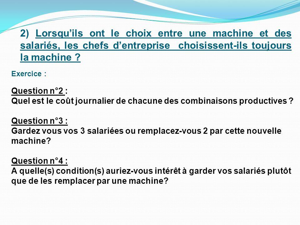 Question n°5 : Si un chef dentreprise a le choix entre acheter une machine ou employer des salariés, est-il toujours plus intéressant de choisir la machine .