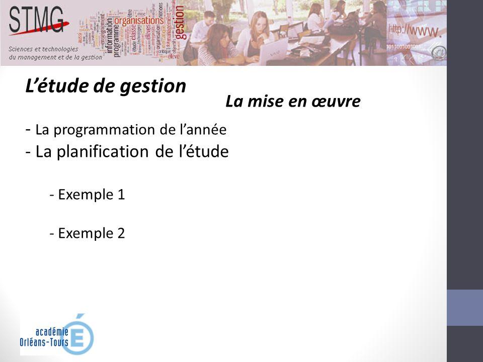Létude de gestion La mise en œuvre - La programmation de lannée - La planification de létude - Exemple 1 - Exemple 2