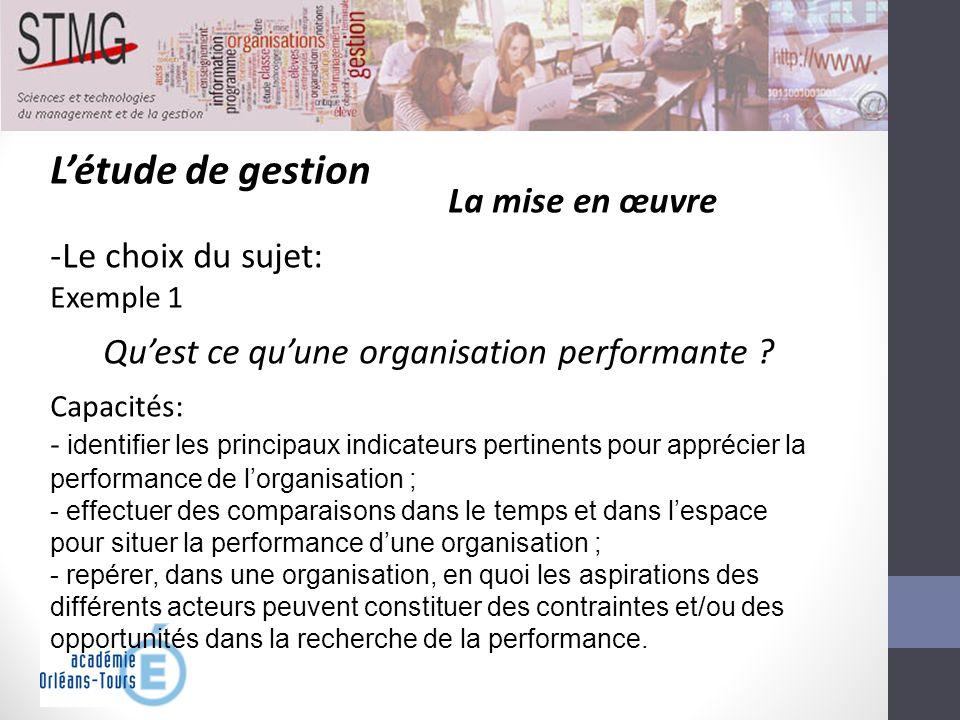 Létude de gestion La mise en œuvre -Le choix du sujet: Exemple 1 Quest ce quune organisation performante ? Capacités: - identifier les principaux indi