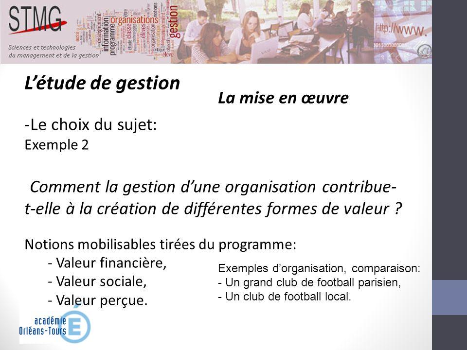 Létude de gestion La mise en œuvre -Le choix du sujet: Exemple 2 Comment la gestion dune organisation contribue- t-elle à la création de différentes f