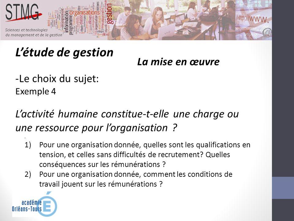 Létude de gestion La mise en œuvre -Le choix du sujet: Exemple 4 Lactivité humaine constitue-t-elle une charge ou une ressource pour lorganisation ? -