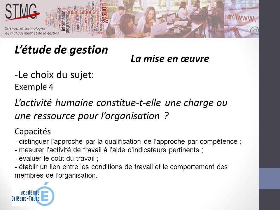 Létude de gestion La mise en œuvre -Le choix du sujet: Exemple 4 Lactivité humaine constitue-t-elle une charge ou une ressource pour lorganisation ? C