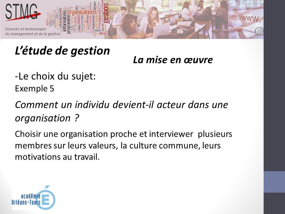 Létude de gestion La mise en œuvre -Le choix du sujet: Exemple 5 Comment un individu devient-il acteur dans une organisation ? Choisir une organisatio