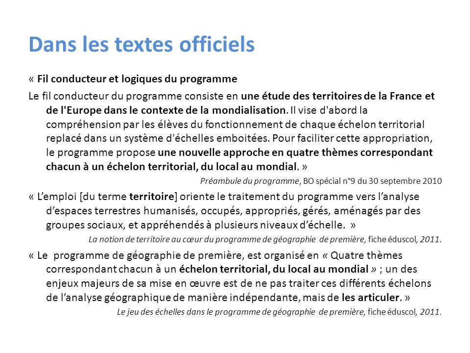 Dans les textes officiels « Fil conducteur et logiques du programme Le fil conducteur du programme consiste en une étude des territoires de la France