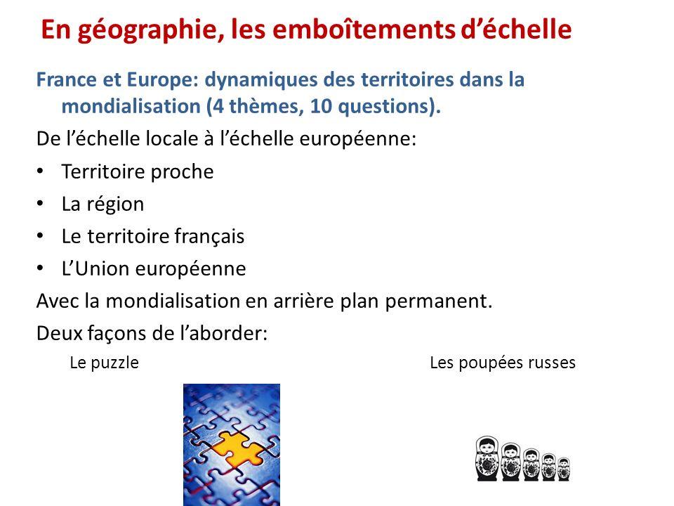 En géographie, les emboîtements déchelle France et Europe: dynamiques des territoires dans la mondialisation (4 thèmes, 10 questions). De léchelle loc