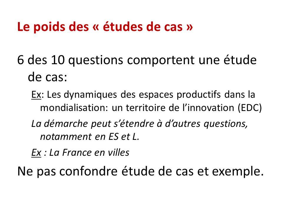 Le poids des « études de cas » 6 des 10 questions comportent une étude de cas: Ex: Les dynamiques des espaces productifs dans la mondialisation: un te