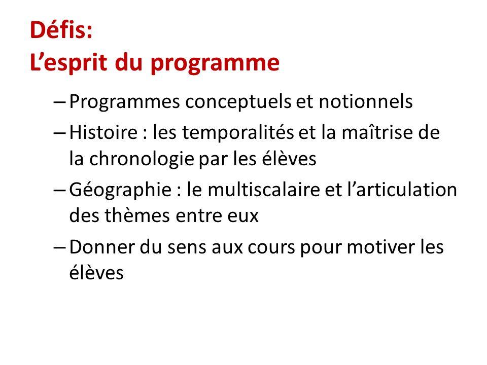 Défis: Lesprit du programme – Programmes conceptuels et notionnels – Histoire : les temporalités et la maîtrise de la chronologie par les élèves – Géo