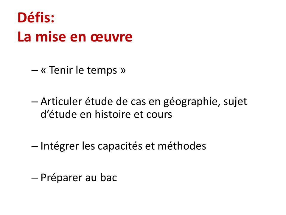 Défis: La mise en œuvre – « Tenir le temps » – Articuler étude de cas en géographie, sujet détude en histoire et cours – Intégrer les capacités et mét