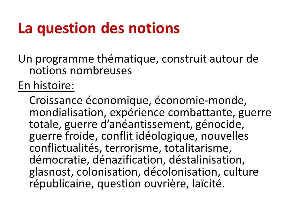 La question des notions Un programme thématique, construit autour de notions nombreuses En histoire: Croissance économique, économie-monde, mondialisa