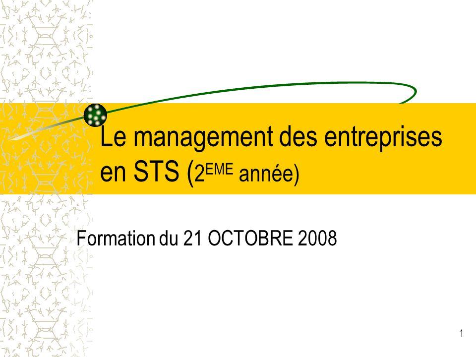 1 Le management des entreprises en STS ( 2 EME année) Formation du 21 OCTOBRE 2008